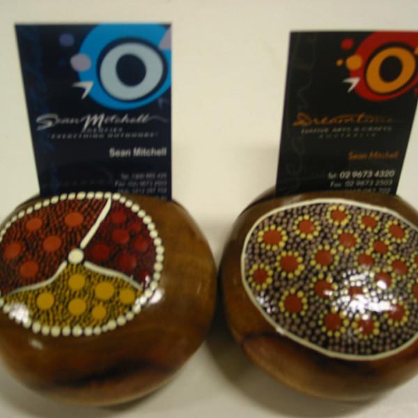 Timber Aboriginal Art Business Card Holder