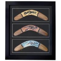 Framed Aboriginal Triple Boomerang