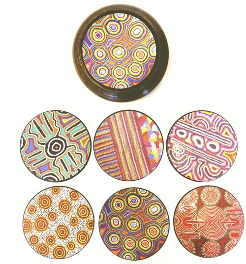 Aboriginal coaster set with timber case