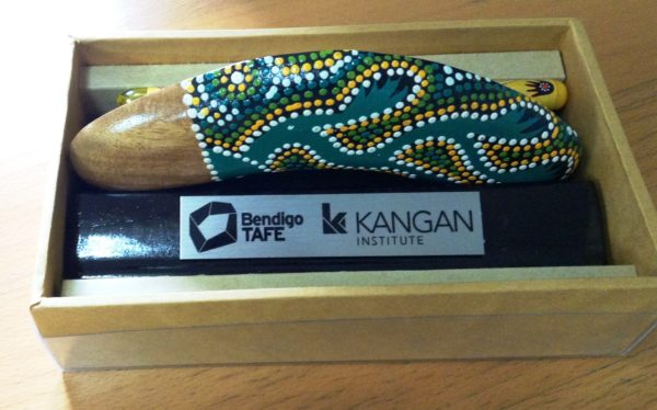 Aboriginal Boxed Boomerang 15cm - add your logo