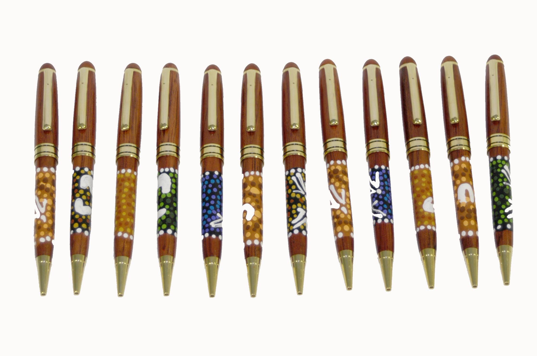 Timber Pen Aboriginal Dot Design Australian Corporate Gifts